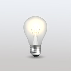 Vector Bulb Isolated on Grey Gradient