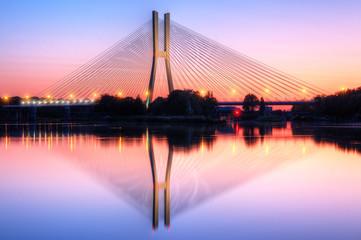 Wrocław most o zachodzie słońca