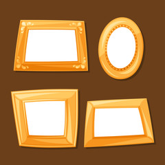 Set of gold various frames on brown background