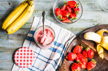 strawberry-banana frozen smoothies in a glass fruit dessert, sum