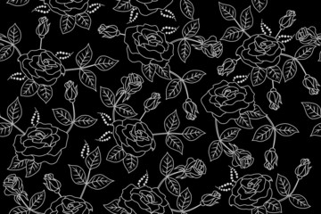 Background black white flowers roses pattern seamless
