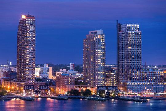 Long Island skyline at night. New York City.