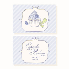 Hand drawn blueberry cupcake business cards template for pastry