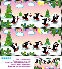 Christmas, winter or New Year themed picture puzzle: Find the ten differences between the two pictures of joyful skating penguins. Answer included.