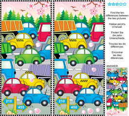 Spring or summer traffic jam picture puzzle: Find the ten differences between the two pictures of cars and trucks on the road, trees in blossom, fresh green forest. Answer included.