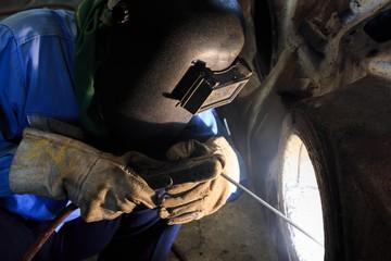 Welder repair bore by shield metal arc welding