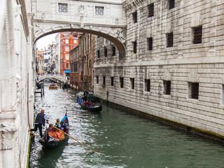 VENICE, ITALY. Urban view. Narrow channel and gondola