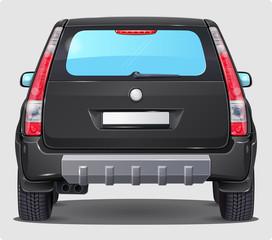 Vector Black Car - Rear view