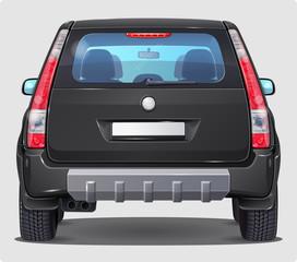 Vector Black Car - Rear view - Visible interior Version