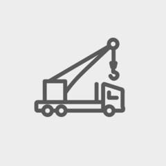 Tow truck thin line icon