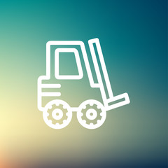 Forklift truck thin line icon
