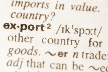 Dictionary definition of word export