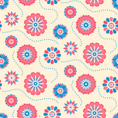 Seamless retro pattern of different colored summer flowers
