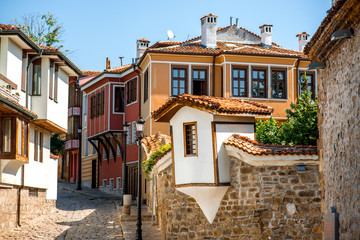 Old city street view in Plovdiv Wall mural