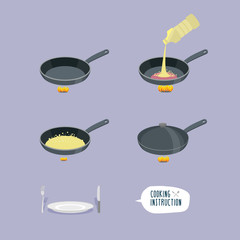 Universal cooking instruction in a frying pan. Infographics step