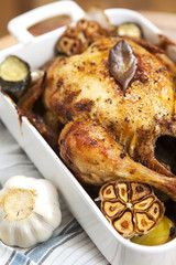 Roasted Chicken with garlic and potatoes