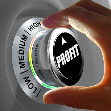 Hand rotating a button and selecting the level of profit.