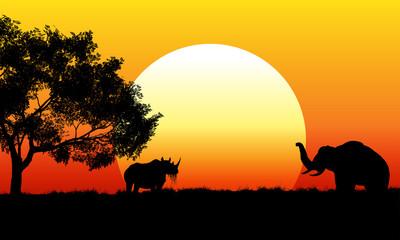 African safari scene at sunset