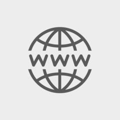 Globe with website design thin line icon