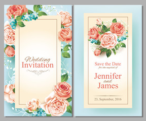 Wedding cards with roses. Vector set.