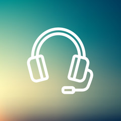 Headphones with microphone thin line icon
