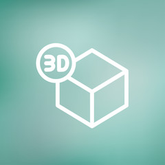 Three D box thin line icon