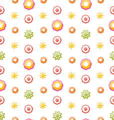 Colorful Shiny Seamless Pattern with Flowers