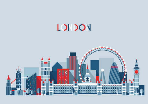 London, England City Skyline Vector. Flat Trendy.