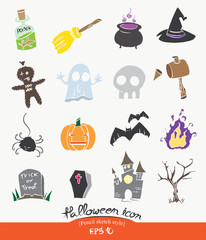 Cute Halloween icon set,halloween symbol