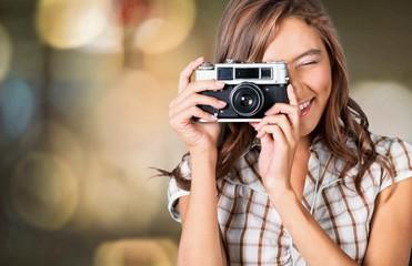 Taking, camera, girl.