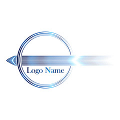 Logo with arrow in circle for business card, isolated