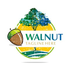 Logo Walnut Trees Hazelnut Freshness delicious
