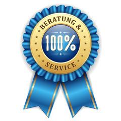 Gold 100 Prozent Beratung und Service Siegel mit blauer Scherpe