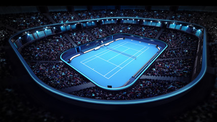 illuminated tennis stadium with blue court