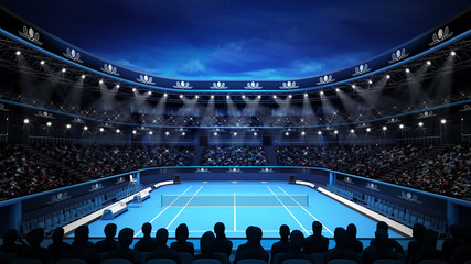 tennis stadium with night sky and spectators