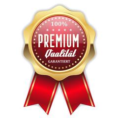 Roter Premium Qualität Siegel mit goldenem Rand und Scherpe