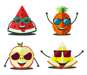 Funny fruits set. Design cartoon slices food  of pineapple, lemo