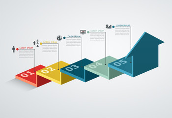 Infographic design template with step structure up arrow, Busine Wall mural