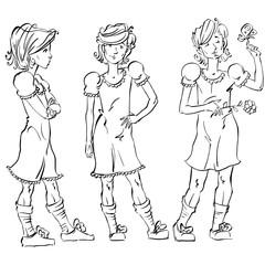 Set of vector full-length hand-drawn Caucasian teens, black and