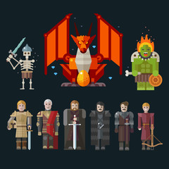Different characters for the game. Vector flat illustrations.
