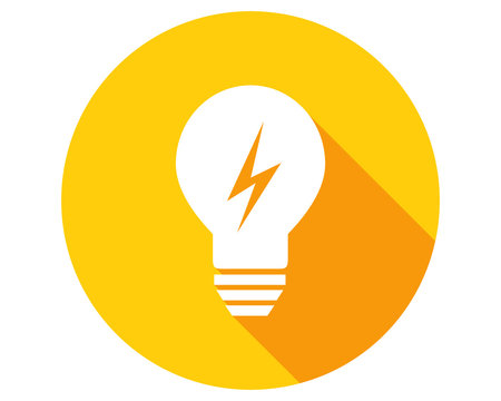 Lightbulb with lightning symbol in flat design