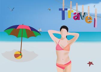 paesaggio spiaggia con modella