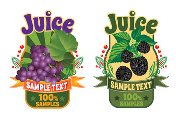templates for labels of juice from grapes and blackberry