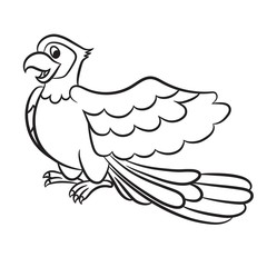 Cartoon illustration of cute parrot outlined. Vector illustration.