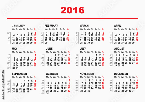 2016 calendar template horizontal weeks first day monday