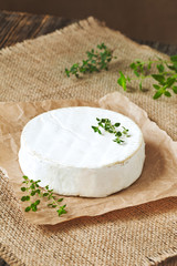 Creamy traditional camembert cheese french dairy product healthy