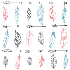 Ethnic seamless pattern with hand drawn arrows and feathers