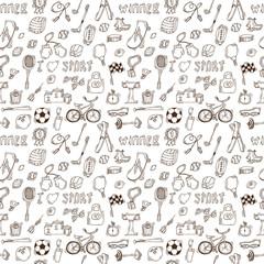Hand drawn sport seamless pattern. Healthy lifestyle