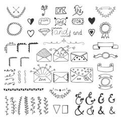Handsketched vector design elements. Hand drawn ampersands, catc