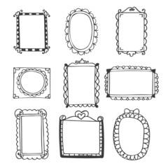 Set of hand drawn frames. Vintage photo frames on white backgrou